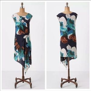 Anthropologie Silk Magnified Corolla dress Shift 0